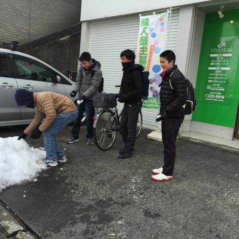 雪と中3生